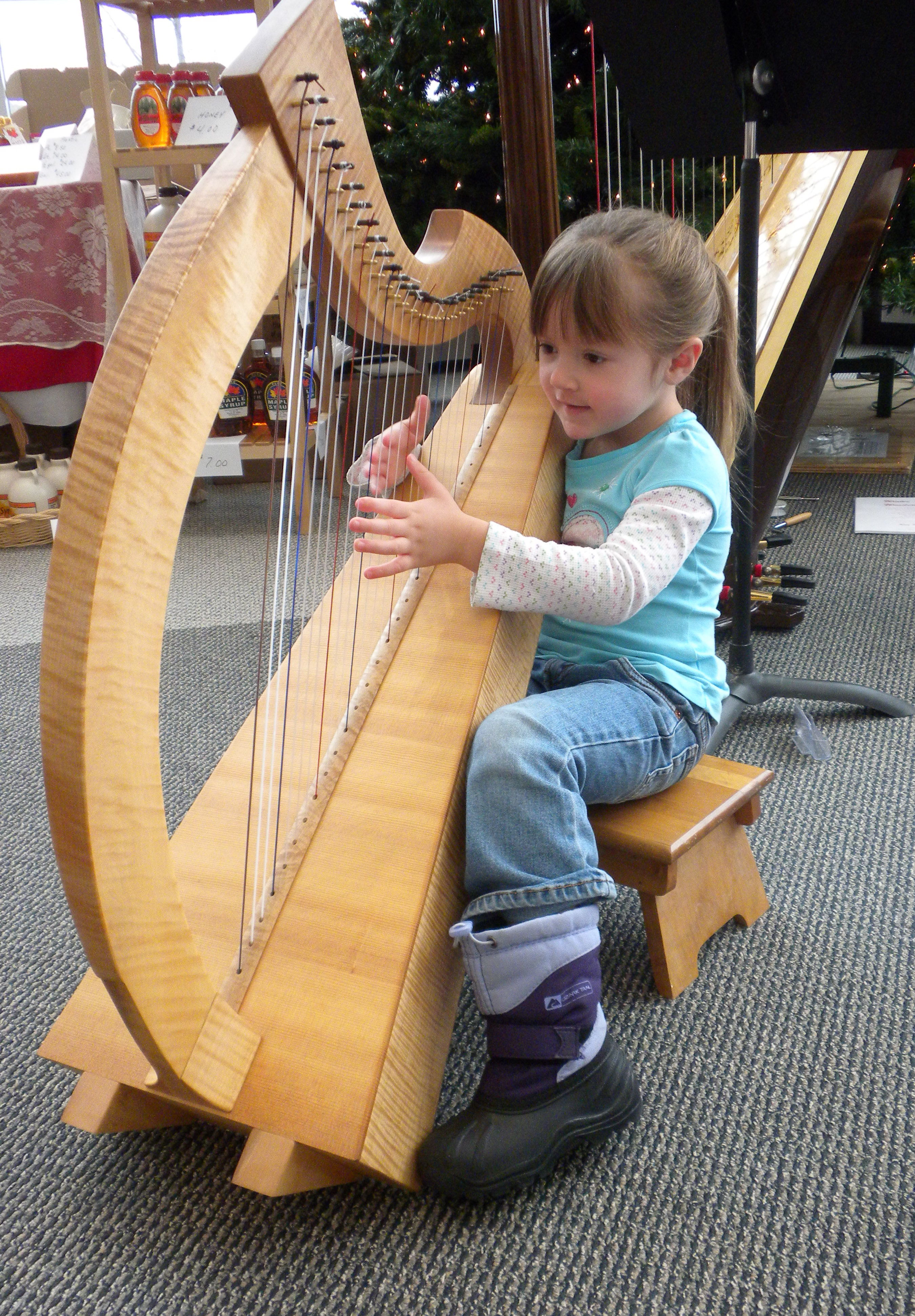 Picture of Emilyn Fay playing harp